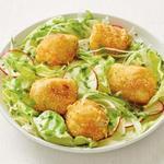 Жареные морские гребешки с листовым салатом