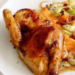 Курица с хрустящей корочкой и гарнир из дыни