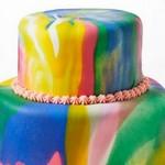 Двухъярусный мраморный торт с малиновой прослойкой
