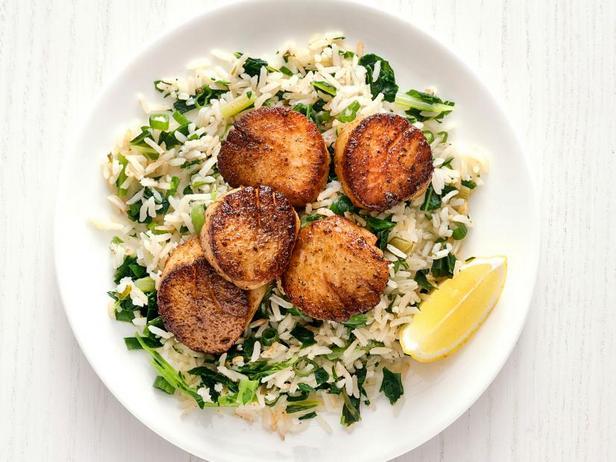 Фото Морские гребешки с рисом по-каджунски
