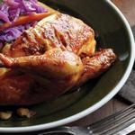 Запечённые цыплята-корнишоны с песто из петрушки и тыквенных семечек