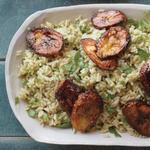 Рис с кинзой и жареными плантанами