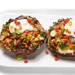 Фаршированные грибы с сыром и перцами чили