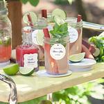 Розовый лимонад с клубникой, ревенем и базиликом