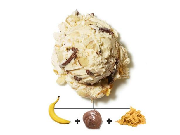 Бананы, шоколадно-ореховая паста и кукурузные хлопья