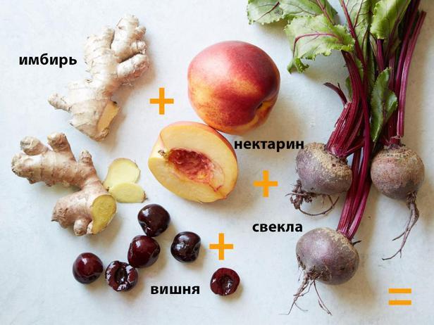 Нектарин + вишня + свекла + свежий имбирь