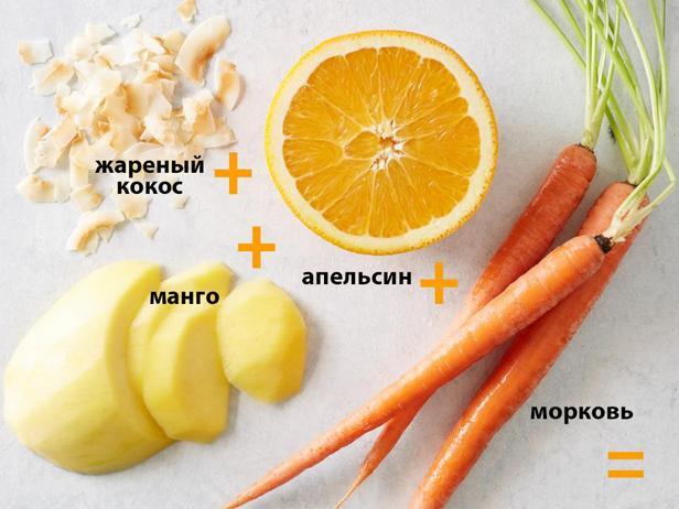 Манго + апельсин + морковь + поджаренный кокос