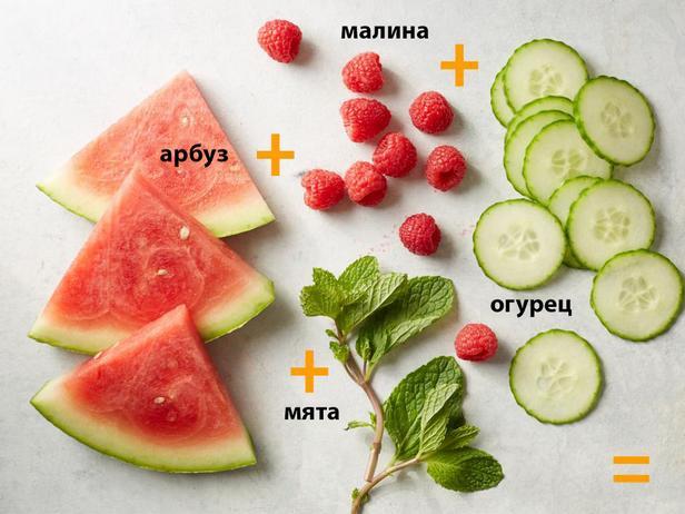 Арбуз + малина + огурец + мята