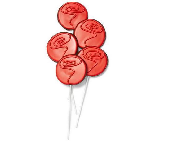 Фото Шоколадно-вишнёвое печенье на палочке «Роза»