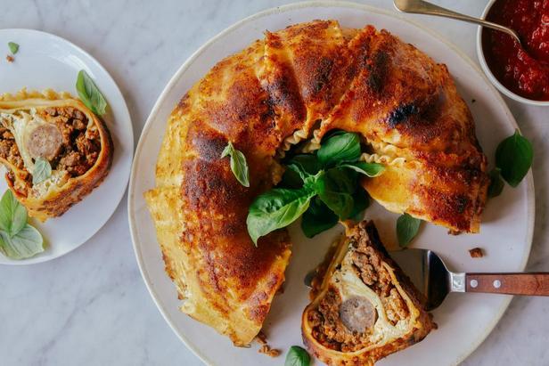 Пирог из лазаньи с сюрпризом