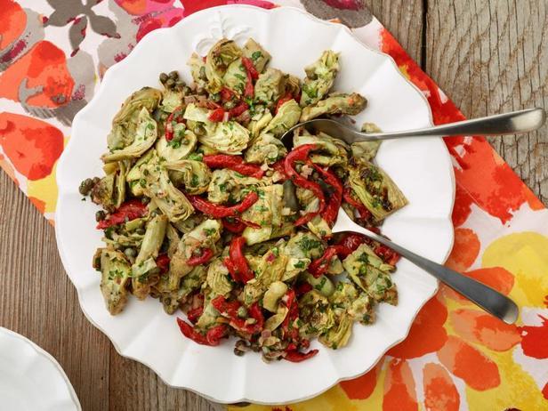 Салат из печёных артишоков