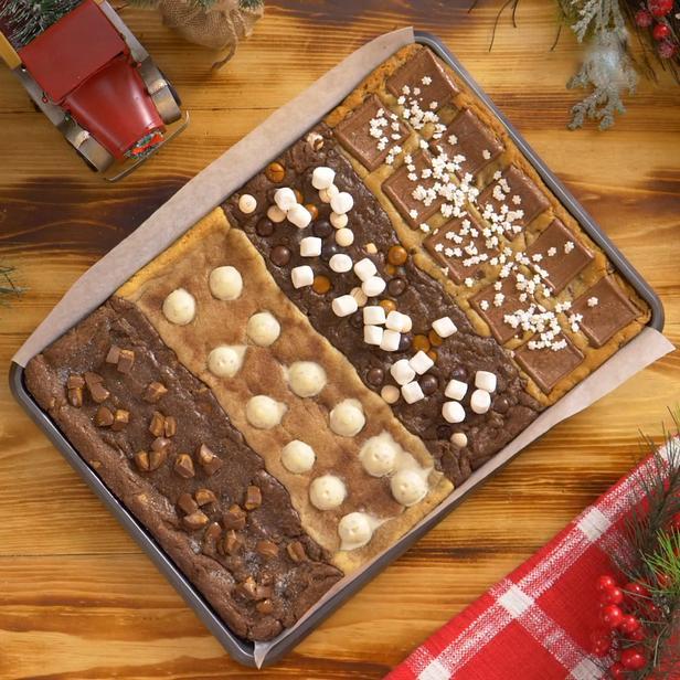 Печенье с 4 вкусами на одном противне