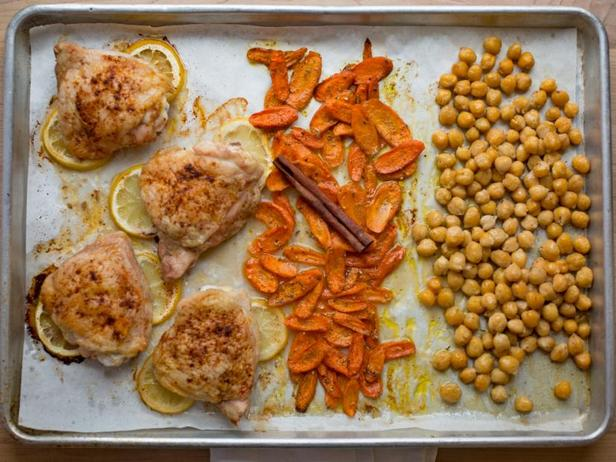 Фото Ужин на противне: Курица с нутом по-североафрикански