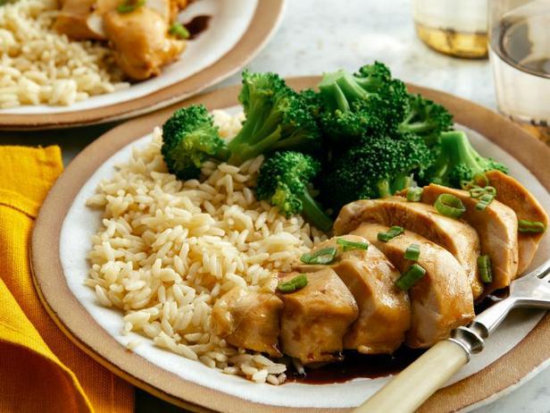 Фото Курица терияки с рисом и брокколи в мультиварке