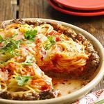 Пирог из спагетти с говядиной